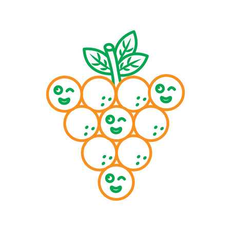 Funny kawaii bunch of grapes cartoon line vector illustration in green and orange color