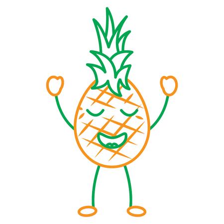 kawaii pineapple, fruit cartoon vector line illustration in green and  orange color