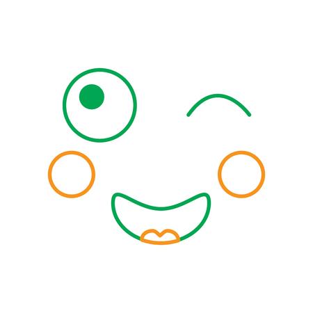 Face expression facial gesture cartoon vector illustration line green orange Ilustração