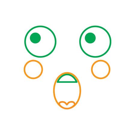 Face expression facial gesture cartoon vector illustration line green orange Çizim