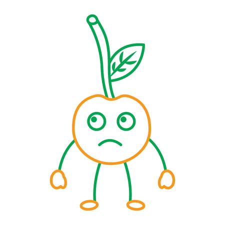 Cherry sad fruit icon image vector illustration design