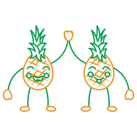 Pinapples high five happy fruit kawaii icon image vector illustration design