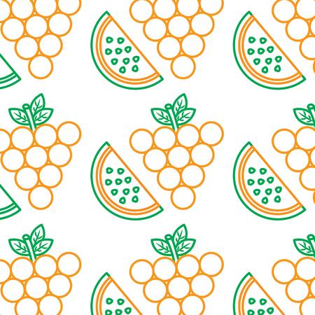 Grapes watermelon fruit pattern image vector illustration design