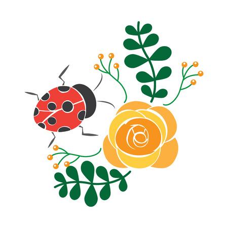 Flowers and ladybugs icon image vector illustration design