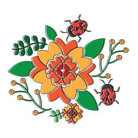 花やレディバグアイコン画像、ベクトルイラスト。