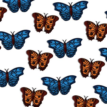 나비 곤충 원활한 패턴, 벡터 일러스트 레이 션입니다.