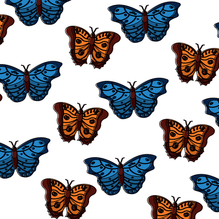 Butterflies insect seamless pattern, vector illustration.