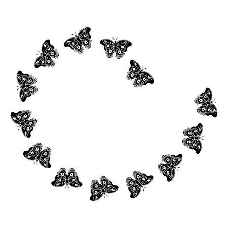 Butterflies in spiral form, black and white vector illustration