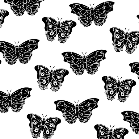 Butterflies pattern vector illustration in black and white