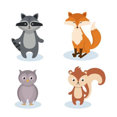 woodland animals wild icon vector illustration design