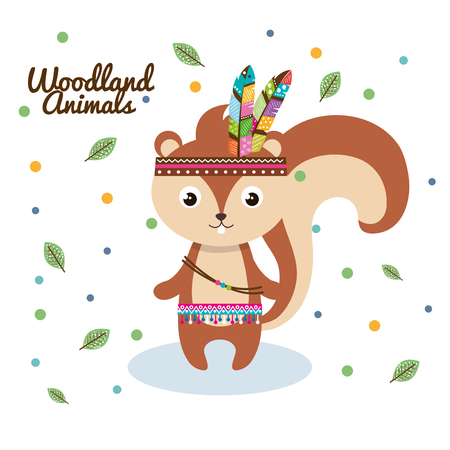 chipmunk woodland animal with feather crown vector illustration design