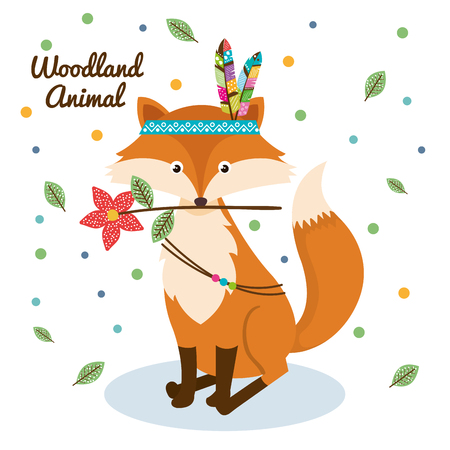 fox woodland animal with feather crown vector illustration design