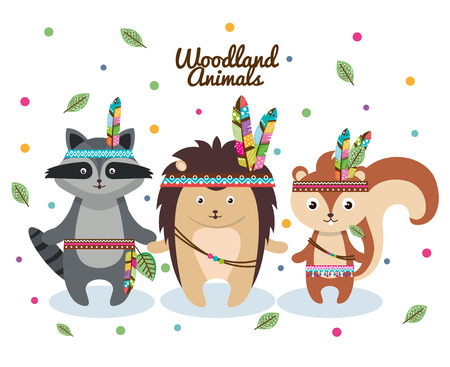woodland animals with feather crown vector illustration design