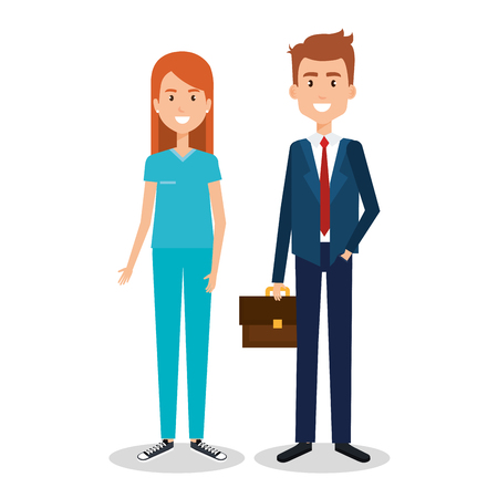 couple of professional workers vector illustration design Illustration