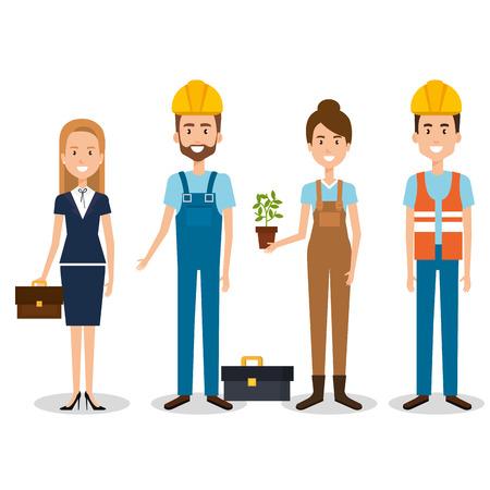 group of professional workers vector illustration design Ilustração