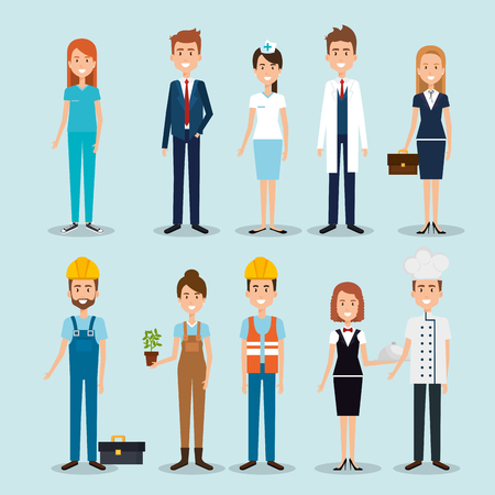 group of professional workers vector illustration design Çizim