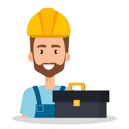 builder with toolbox avatar vector illustration design