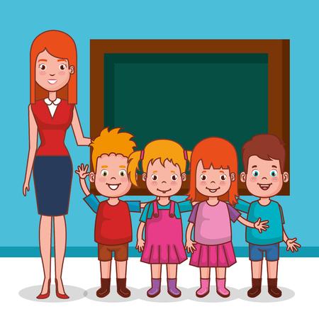 little kids group with teacher in classroom vector illustration design Stock Illustratie