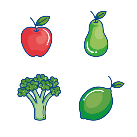 fruits and vegetables set icons vector illustration design