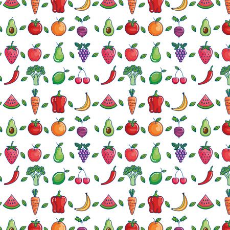 fruits and vegetables set icons vector illustration design