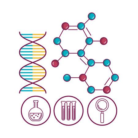 화학 과학 포스터 아이콘 벡터 일러스트 디자인