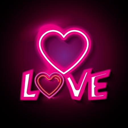 Cartel de amor con luces de neón ilustración vectorial de diseño Foto de archivo - 91009091