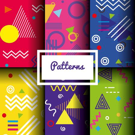 라인 인물 및 색상 패턴 벡터 일러스트 레이 션 설정