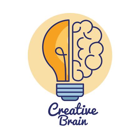 Progettazione creativa dell'illustrazione di vettore dell'icona di concetto del cervello Archivio Fotografico - 91027673