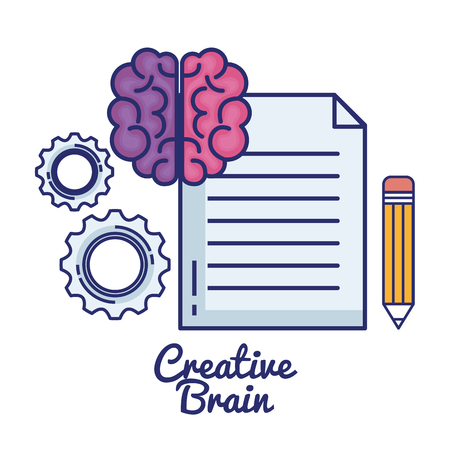 Creative brain set icons, vector illustration design. Illustration