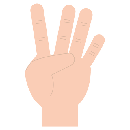 Hand counting four on fingers, vector illustration design.