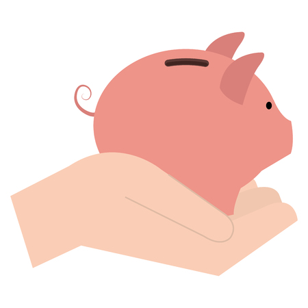 Hand with piggy savings, isolated icon vector illustration design.