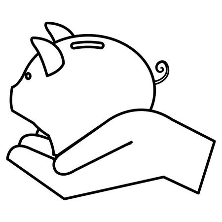 돼지 저축 격리 된 아이콘 벡터 일러스트와 함께 손을 디자인