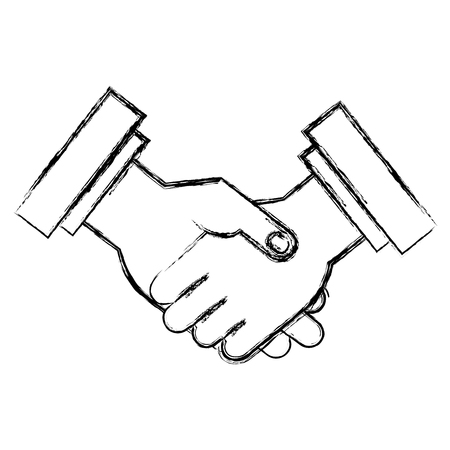 Shaking hands done deal isolated icon vector illustration design Çizim