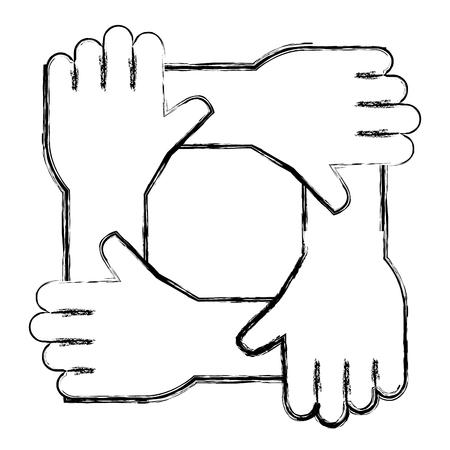 united teamwork hands icon vector illustration design Illustration