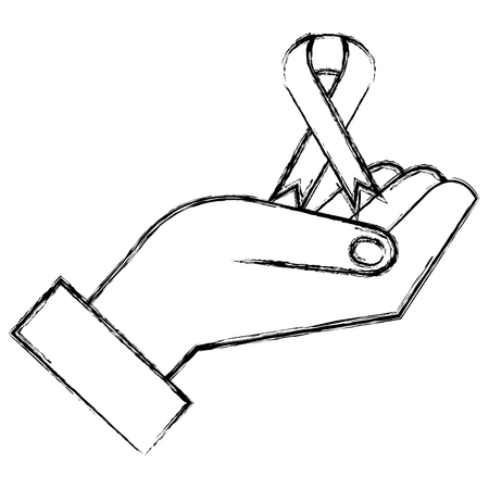 hand with ribbon campaign vector illustration design Ilustrace
