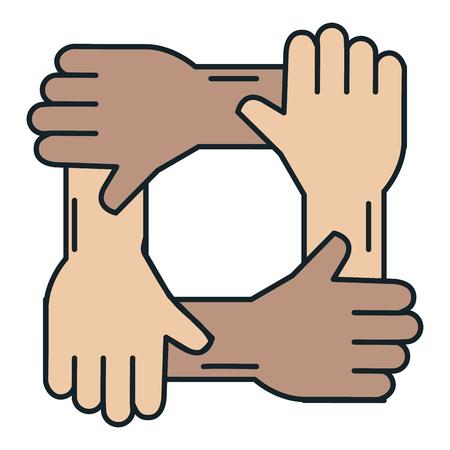 united teamwork hands icon vector illustration design Иллюстрация