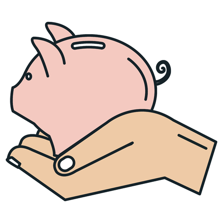 Hand with piggy savings isolated icon vector illustration design Illustration
