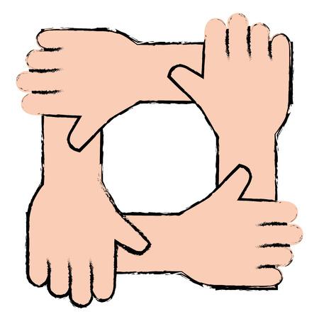 united teamwork hands icon vector illustration design Ilustrace