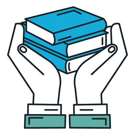 hands with books icon vector illustration design