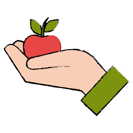 hand with apple icon vector illustration design Stock Vector - 91047009