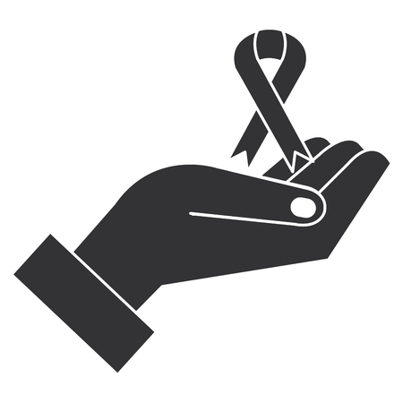 hand with ribbon campaign vector illustration design Çizim