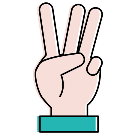 hand counting three on fingers vector illustration design