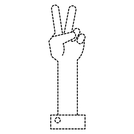 hand counting tow on fingers vector illustration design