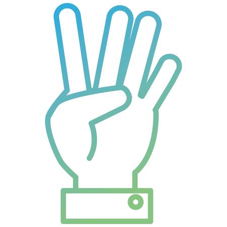 Mano che conta tre sulla progettazione dell'illustrazione di vettore delle dita Archivio Fotografico - 91053045