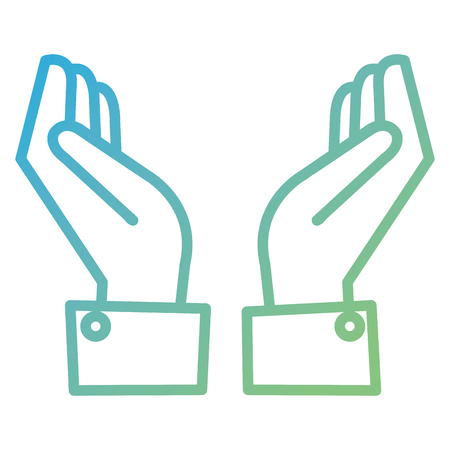 Hands protected isolated icon vector illustration design