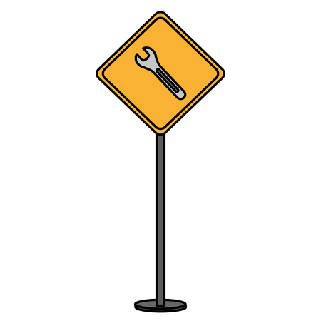 construction caution signal with wrench vector illustration design