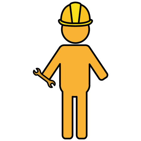 constructor silhouette with wrench vector illustration design
