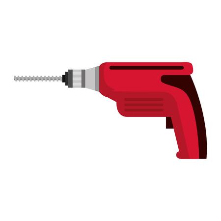 boor elektrisch gereedschap geïsoleerd pictogram vector illustratie ontwerp