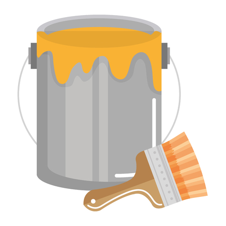 paint brush with pot vector illustration design