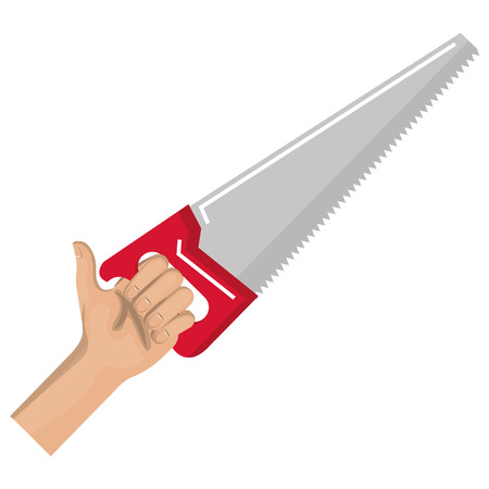 hand with handsaw tool vector illustration design Stock Vector - 91052815